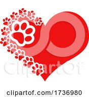 Red Heart With Dog Paw Prints