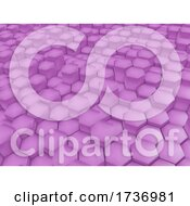3D Modern Abstract Background With Pink Extruding Hexagons