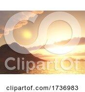 3D Mountain In Ocean Against Sunset Sky