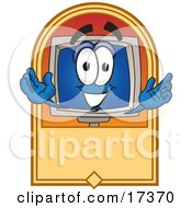 Clipart Picture Of A Desktop Computer Mascot Cartoon Character On A Blank Tan Label by Toons4Biz