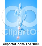 3D Male Medical Figure Running With Knee And Ankle Bones Highlighted