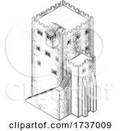 Poster, Art Print Of Medieval Building Map Icon Vintage Illustration