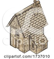 02/16/2021 - Medieval Building Map Icon Vintage Illustration
