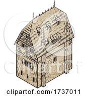 Medieval Building Map Icon Vintage Illustration