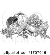Poster, Art Print Of Vegetables Fruit Produce Food Illustration Woodcut