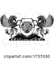 Poster, Art Print Of Crest Pegasus Horses Coat Of Arms Lion Shield Seal