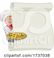 Pizza Chef Cartoon Man Scroll Menu Sign Background