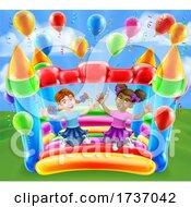 Bouncy House Castle Jumping Girls Kids Cartoon