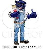 Panther Painter Decorator Holding Paintbrush