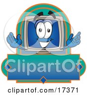 Clipart Picture Of A Desktop Computer Mascot Cartoon Character On A Blank Label by Toons4Biz