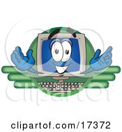 Clipart Picture Of A Desktop Computer Mascot Cartoon Character Logo by Toons4Biz