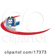 Clipart Picture Of A Desktop Computer Mascot Cartoon Character With A Red Dash On An Employee Nametag Or Business Logo by Toons4Biz