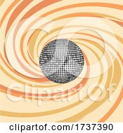 02/22/2021 - 3d Silver Disco Ball Over A 70s Themed Swirl