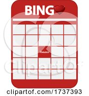 Poster, Art Print Of Valentines Day Bingo Card With Romance In The Middle