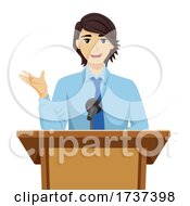 02/22/2021 - Teen Guy Speech Podium Illustration