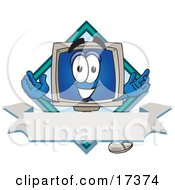 Clipart Picture Of A Desktop Computer Mascot Cartoon Character On A Label With A Blank Banner And Diamond by Toons4Biz