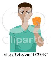 Teen Boy Black Showing Condoms Illustration