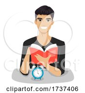 02/22/2021 - Teen Boy Speed Reading Test Clock Illustration