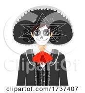 Teen Boy Sugar Skull Costume Illustration