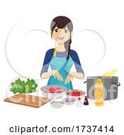 Teen Girl Cooking Ingredients Illustration