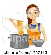 Teen Girl Cook Pasta Colander Illustration