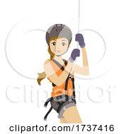 Teen Girl Harness Rope Illustration