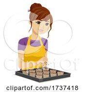 Teen Girl Make Cupcakes Dessert Illustration