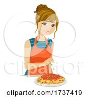 Teen Girl Make Pasta Spaghetti Illustration