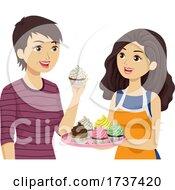 Teen Girl Mom Taste Cupcake Illustration