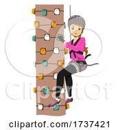 Teen Girl Monkey Grove Tree Climb Illustration