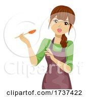 Teen Girl Not Good Taste Spoon Illustration