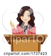 Teen Girl Speech Lectern Illustration