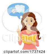 Teen Girl Speed Reading Talking Illustration