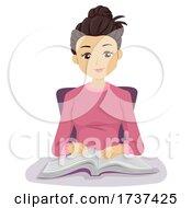 Teen Girl Speed Reading Technique Hand Point