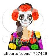 Teen Girl Sugar Skull Costume Illustration