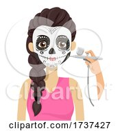 Teen Sugar Skull Makeup Air Brush Illustration