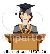 Teen Guy Graduation Speech Illustration