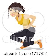 Teen Girl Animal Exercise Duck Walk Illustration