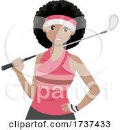 Teen Girl Black Golf Illustration