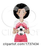 Teen Girl Black Hold Soccer Ball Illustration