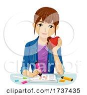 Teen Girl Highlight Food Log Note Illustration