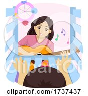 Teen Girl Playing Guitar Baby Crib Illustration