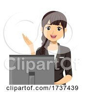Teen Girl Receptionist Computer Illustration