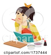 Teen Girl Think Cook Book Recipe Illustration