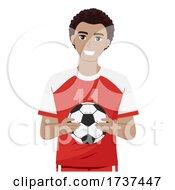 02/22/2021 - Teen Guy Black Hold Ball Soccer Illustration
