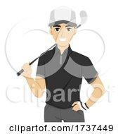 Teen Guy Golf Club Illustration
