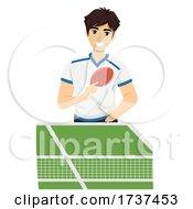 Teen Guy Play Table Tennis Illustration
