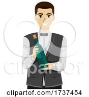 Teen Guy Waiter Hold Wine Bottle Illustration