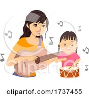 Teen Play Music Kid Down Syndrome Illustration