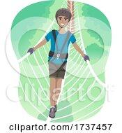 Teen Boy Black Burma Bridge Illustration